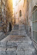Ancient Alleyways Of The Old City In Jerusalem, Israel. Walking Around The Jewish Quarter During Shabbat.