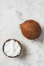 Coconut Oil On Marble Background