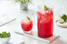 Detox Water With Hibiscus And Lime.