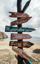 Travel Destinations On Wooden ...