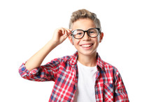 Boy In Glasses And Shirt Isola...
