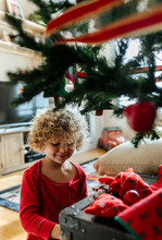 Little Kid In Christmas At Home