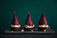 Red Wine Poached Pears And Chocolate Cake