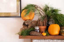 Rustic Decor Of Pumpkin And Pine Logs On Fireplace Mantle