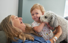 Smiling Grandmother And Granddaughter Playing With Dog At Home