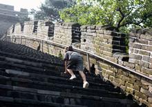 Beautiful Asian Little Girl Climbing The Great Wall