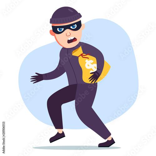 Fotografia the robber stole a bag of money. the criminal
