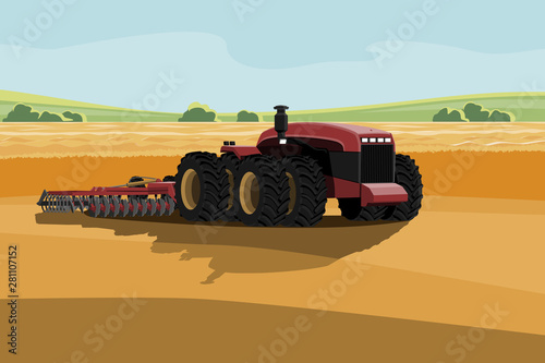 Aufkleber - Autonomous tractor working on the field. Smart farming
