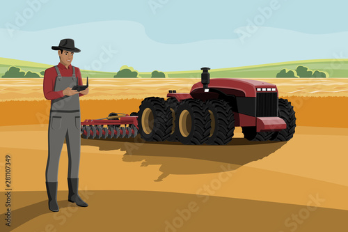 Aufkleber - Black african american farmer with a tablet computer controls a autonomous tractor on a smart farm. Vector illustration EPS 10