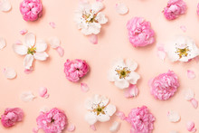 Flat Lay Spring Summer Flowers...