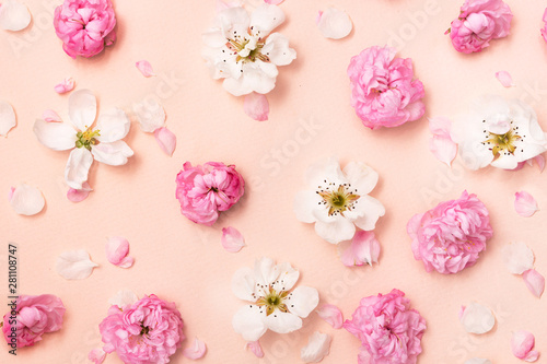 Flat lay spring summer flowers pink - 281108747
