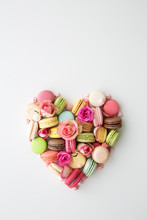 Macaron And Rose Heart