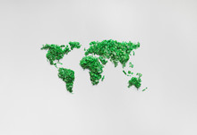 Green World Map On White Paper...