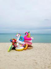 A Gaggle Of Inflatable Beach Toys
