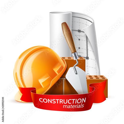 Cuadros en Lienzo  Realistic hard hat, blueprint, mortar trowel and bricks