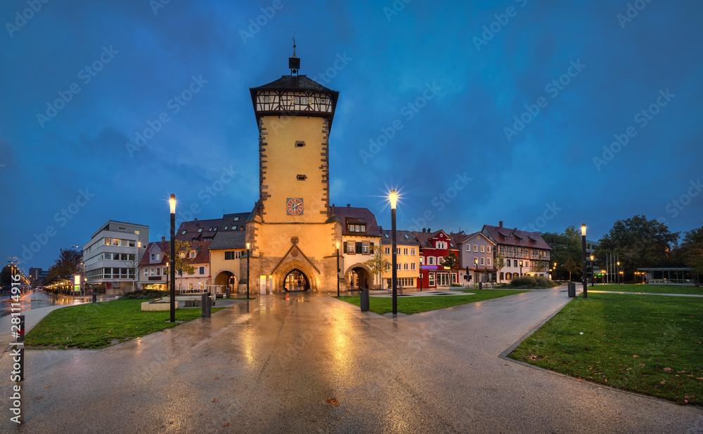 Reutlingen, Germany. Historic Tubinger Tor at dusk