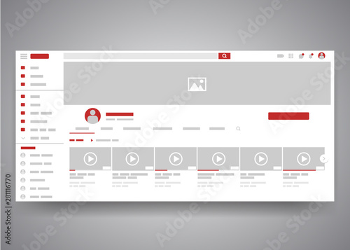 Foto Web browser youtube video channel user interface page with search field and video list