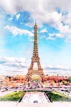 Beautiful Digital Watercolor Painting Of The Eiffel Tower In Paris, France.