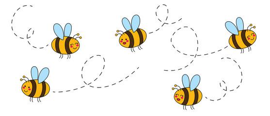 Izrezani set crtanih pčela ručno nacrtanih djetinjasto. Vektorska ilustracija.