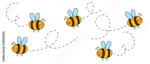 Fotografie, Tablou Cut set of cartoon bees hand drawn childish. Vector illustration.