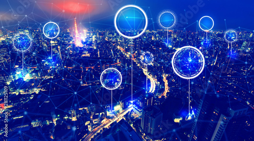 Technology digital circle with aerial view of Tokyo, Japan at night