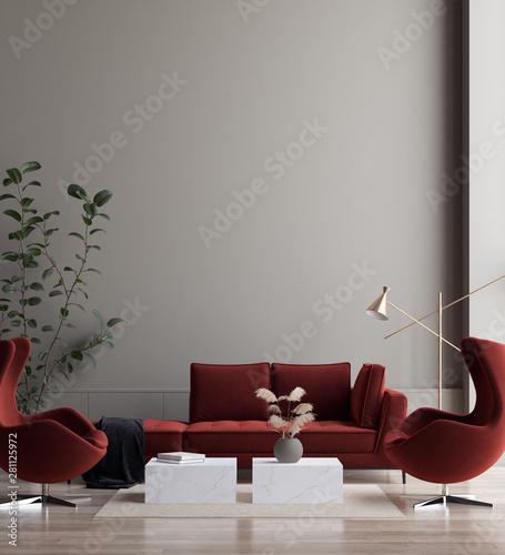 Obraz Minimalist modern living room interior background, 3D render - fototapety do salonu