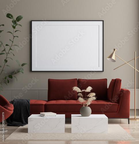 fototapeta na szkło Modern interior, poster mock up, 3d render