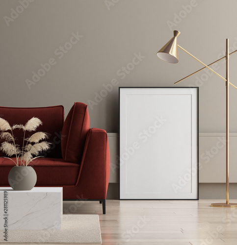 Modern interior, poster mock up, 3d render