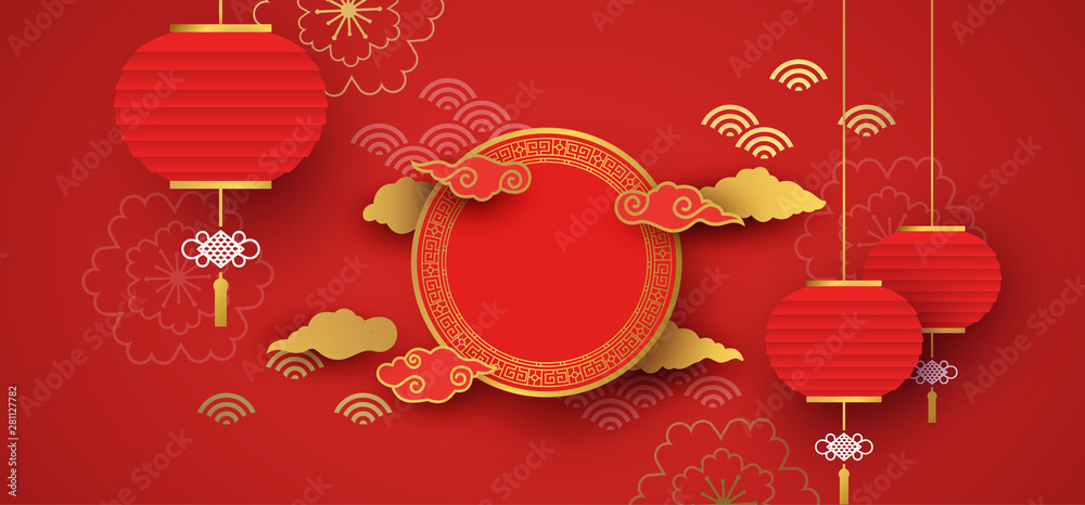 Fototapeta Red and gold papercut chinese background template