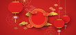 Red and gold papercut chinese background template
