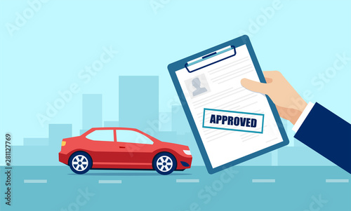 Vector of a business man holding approved application for car loan Fototapeta
