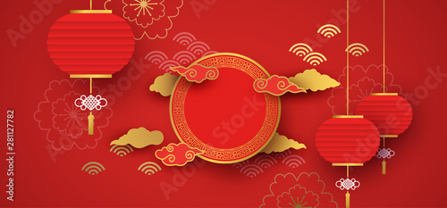 Fototapeta Red and gold papercut chinese background template obraz