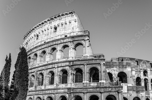 Fényképezés  Black & white image of the ancient Colosseum, also know as Flavian Amphitheatre