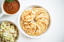 Pupusas From El Salvador With Delicious Salsa And Curtido
