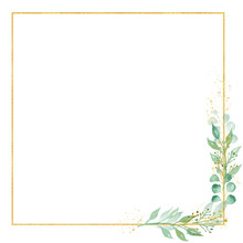 Decorative Floral Square Frame Watercolor Raster Illustration