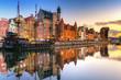 Leinwanddruck Bild - Gdansk with beautiful old town over Motlawa river at sunrise, Poland.