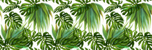Digital Painting Of Leaf And Flowers, Seamless Pattern