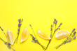 Beautiful lavender flowers with lemon pieces on color background