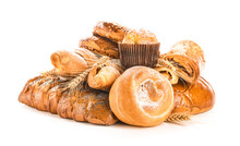 Heap Of Tasty Pastries On White Background