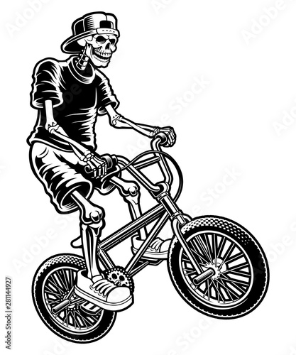Fotografia, Obraz Vector illustration of a skeleton on bike