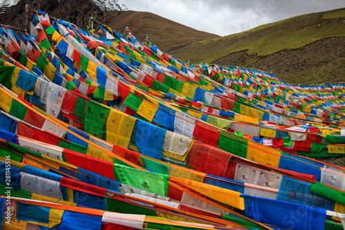 Valokuvatapetti Tibetan Prayer Flags near Karola Glacier, Tibet Autonomous Region, China