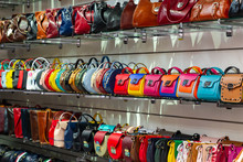 Different Kind Of Leather Purse Bags Colorful Vibrant Colors Selling In The Italian Market Shop