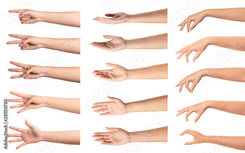 Fényképezés  Set of  woman hands with different gestures on white...