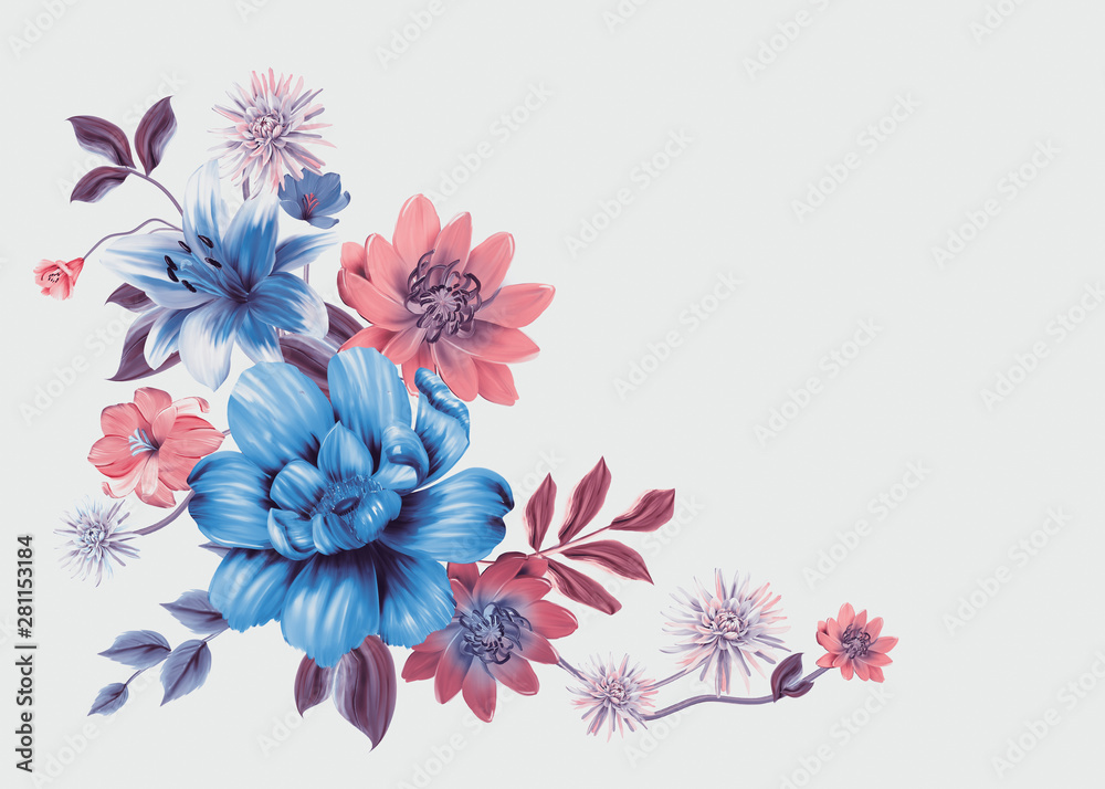 floral illustration - bouquet with bright  vivid flowers, green leaves, for wedding stationary, greetings, wallpapers, fashion, backgrounds, textures, DIY, wrappers, cards.