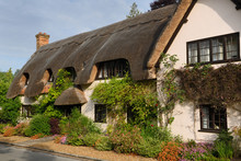 Thatched Roof House With Flower Garden In Morning Sun At West Amesbury Salisbury England