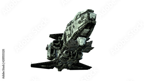 фотография Old alien spaceship, UFO spacecraft in flight isolated on white background, bott