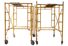 Scaffolding Yellow Against White Background. Clipping Path