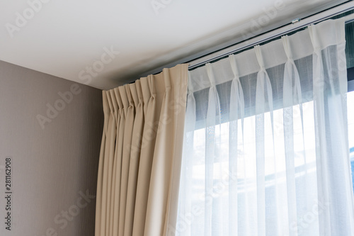 obraz PCV Beautiful curtains with ring-top rail, Curtain interior decoration in living room