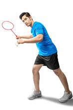 Asian Man With Badminton Racket Holding Shuttlecock And Ready In Serve Position