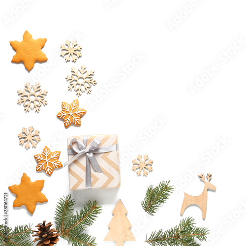 Christmas decor, gift box and cookies on white background